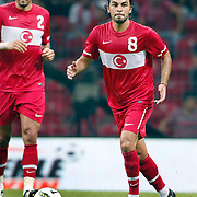 Turkey's Selcuk INAN (R) during their a international friendly soccer match Turkey betwen Estonia at TT Arena Istanbul August 10, 2011. Photo by TURKPIX