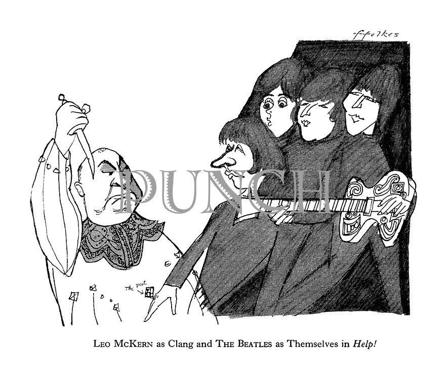 Leo McKern as Clang and The Beatles as Themselves in Help!