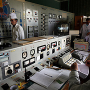 At the control room of the nuclear reactor inside the Institute of Nuclear Physics in Almaty, Kazakhstan, where technicians load the radioactive substance into casks. .The removal of Kazakhstan's highly enriched uranium (HEU) is part of the U.S. Global Threat Reduction Initiative (GTRI), where Igor Bolshinsky and Kelly Cummins work, that tries to secure nuclear material around the world to prevent their misuse by terrorists and rogue states.