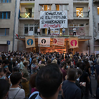 People demonstrate their support for the autonomy of the University of Theatre and Film Arts (SZFE) in Budapest, Hungary on Sept. 4, 2020. ATTILA VOLGYI