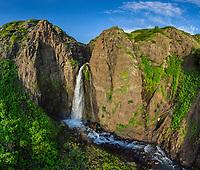 Aerial view of waterfall at Kamchatka Peninsula, Eastern coast, Russia
