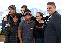Producer Ricardo Alves Jr, Koto Kraho, director Joao Salaviza, Ihjac Kraho, director Renee Nader Messora and producer Thiago Macedo Correia at the The Dead And The Others film photo call at the 71st Cannes Film Festival, Wednesday 16th May 2018, Cannes, France. Photo credit: Doreen Kennedy