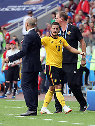 June 23, 2018 - Moscow, RUSSIA - Belgium's head coach Roberto Martinez and Belgium's Eden Hazard pictured at the second game of Belgian national soccer team the Red Devils against Tunisia national team in the Spartak stadium, in Moscow, Russia, Saturday 23 June 2018. Belgium won its first group phase game. BELGA PHOTO BRUNO FAHY (Credit Image: © Bruno Fahy/Belga via ZUMA Press)