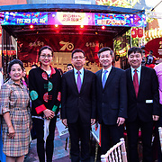 Chinese Minster 童学军 (Mr. Tong Xuejun - M)and the Chinese Consular attend the Moon festival - The big feast for the chinese community and the 70th Anniversary of China at Chinatown Square on the 15th September 2019, London, UK.