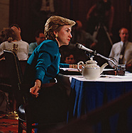 First Lady Hillary Rodham Clinton testifies before a senate committee on the Clinton health care plan on September 28, 1993.<br />Photo by Dennis Brack