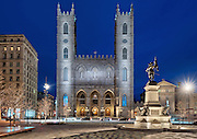Basilique Notre-Dame and Place d'armes at the blue hour in Spring 2012, Montreal, Quebec, Canada