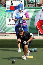 Val Smith of New Zealand in action during the semi final playoff for the women's singles Lawn Bowls held at the Jawaharlal Nehru Sports Complex in New Delhi, India on the 13 October 2010..Photo by:  Ron Gaunt/photosport.co.za