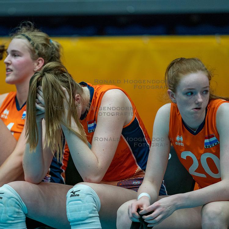Jolien Knollema of Netherlands, Britte Stuut of Netherlands, Rixt van der Wal of Netherlands after semi final Netherlands - Serbia, FIVB U20 Women's World Championship on July 17, 2021 in Rotterdam