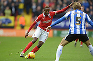 El-Hajdi Ba of Charlton Athletic (l)  in action. Skybet football league championship match, Charlton Athletic v Sheffield Wednesday at The Valley  in London on Saturday 7th November 2015.<br /> pic by John Patrick Fletcher, Andrew Orchard sports photography.