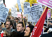 © Licensed to London News Pictures. 19/02/2013. Cambridge, UK Unite Against Fascism holds a demonstration and Rally today,19th February, outside the Cambridge Union debating society, against Marine Le Pen who has been invited to address the Union. Marine Le Pen is the President of the Front National, the third largest political party in France.  As a long-standing MEP, she has become a highly influential figure on the European right . Photo credit : Stephen Simpson/LNP