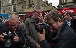 Pictured: While the press were interesed in images one supporter was more interested in a free cake.<br /> <br /> Scottish Labour's Ian Murray and Scottish Labour leader Kezia Dugdale hit the general election campaign trail in Edinburgh today for the first campaign event of Mr Murray's re-election campaign for the Edinburgh South constituency.<br /> Ger Harley   EEm 21 April 2017