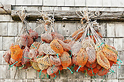 Bait bags hang from a dockside shed, Bass Harbor, Maine, ME, USA