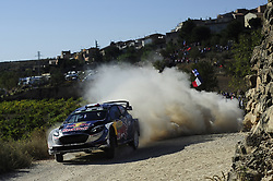 October 6, 2017 - Salou, Catalonia, Spain - French driver, Sbastien Ogier and his co-driver Julien Ingrassia of M-Sport team driving his Ford Fiesta WRC during the first day of Rally Racc Catalunya Costa Daurada. (Credit Image: © Joan Cros/NurPhoto via ZUMA Press)
