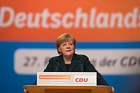 09 DEC 2014, KOELN/GERMANY:<br /> Angela Merkel, CDU, Bundeskanzlerin, haelt ihre Rede als Parteivorsitzende der CDU, CDU Bundesparteitag, Messe Koeln<br /> IMAGE: 20141209-01-034<br /> KEYWORDS: Party Congress
