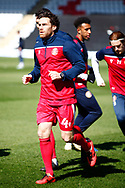 Romain Vincelot of Stevenage warming up during the EFL Sky Bet League 2 match between Stevenage and Bradford City at the Lamex Stadium, Stevenage, England on 5 April 2021.