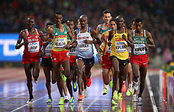 Great Britain's Mo Farah (centre) in the men's 5000m heat one during day six of the 2017 IAAF World Championships at the London Stadium. PRESS ASSOCIATION Photo. Picture date: Wednesday August 9, 2017. See PA story ATHLETICS World. Photo credit should read: John Walton/PA Wire. RESTRICTIONS: Editorial use only. No transmission of sound or moving images and no video simulation