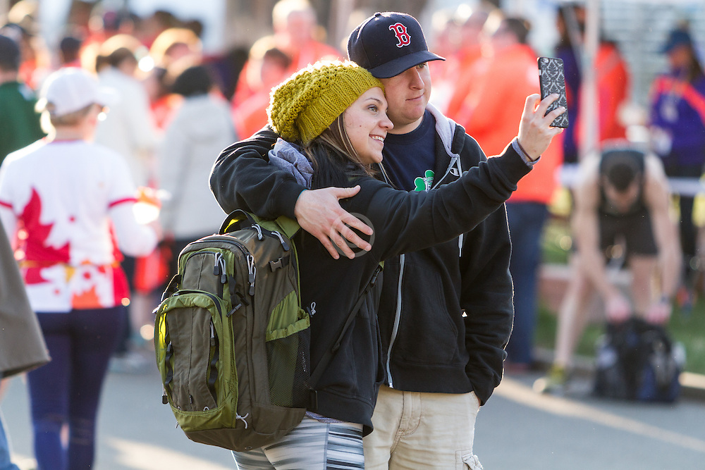 Boston Marathon: BAA 5K road race, pre-race selfie