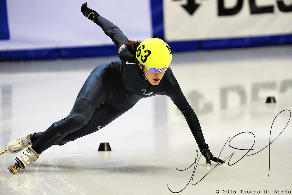 2008 World Cup Short Track - Vancouver - Katherine Reutter (USA) competes in the 3000m Ladies Relay B Final.