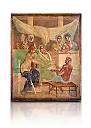 Detail of the Roman fresco wall painting of all the characters in the story of Admetus who, aided by Apollo made the Fates agree not to take Admetus on his 'death day' if he could find someone else to replace him, his wife, Alcestis, dies instead of Admetus but as she decends into the Underworld he discovers that he no longer wants to live without her, Pompeii House of the Tragic Poet , inv 9026, Naples National Archaeological Museum, white background .<br /> If you prefer to buy from our ALAMY PHOTO LIBRARY  Collection visit : https://www.alamy.com/portfolio/paul-williams-funkystock - Scroll down and type - Roman Fresco Naples  - into LOWER search box. {TIP - Refine search by adding a background colour as well}.<br /> <br /> Visit our ROMAN ART & HISTORIC SITES PHOTO COLLECTIONS for more photos to download or buy as wall art prints https://funkystock.photoshelter.com/gallery-collection/The-Romans-Art-Artefacts-Antiquities-Historic-Sites-Pictures-Images/C0000r2uLJJo9_s0