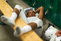 Sheldon High School Husky Brandon Erwing (22), rests as he gets ready inside the locker room before the game as the Monterey Trail Mustangs host the Sheldon High School Huskies Friday Sep 23, 2016.<br /> photo by Brian Baer