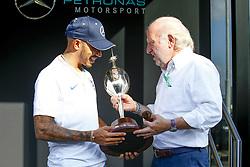 July 7, 2018 - Silverstone, Great Britain - Motorsports: FIA Formula One World Championship 2018, Grand Prix of Great Britain, ..#44 Lewis Hamilton (GBR, Mercedes AMG Petronas Motorsport) receives the Hawthorn Memorial Trophy  (Credit Image: © Hoch Zwei via ZUMA Wire)
