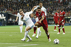 (L-R) Daniel Carvajal of Real Madrid, Roberto Firmino of Liverpool FC, during the UEFA Champions League final between Real Madrid and Liverpool on May 26, 2018 at NSC Olimpiyskiy Stadium in Kyiv, Ukraine