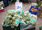 Seedless grapes, fruit and vegetables street market stall, Colchester, Essex