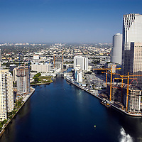 July 2004 aerial view of the Miami River entrance with new high rise building construction