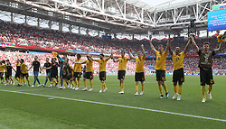 MOSCOW, June 23, 2018  Players of Belgium greet the audience after the 2018 FIFA World Cup Group G match between Belgium and Tunisia in Moscow, Russia, June 23, 2018. Belgium won 5-2. (Credit Image: © Cao Can/Xinhua via ZUMA Wire)