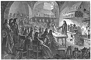 Nicolas Lemery (1645-1715) French physician and chemist. Lemery giving a public lecture on chemistry in Paris, c1675. Engraving published Paris, 1874.