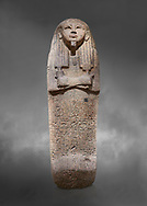Ancient Egyptian sarcophagus lid of Djehutymes, pink granite, 19th Dynasty (1279-1213 BC.) Thebes, Khokha, TT32. Egyptian Museum, Turin. Grey background<br /> <br /> The lid of the coffin of Djehutymes, husband of singer Asset .<br /> <br /> If you prefer to buy from our ALAMY PHOTO LIBRARY  Collection visit : https://www.alamy.com/portfolio/paul-williams-funkystock/ancient-egyptian-art-artefacts.html  . Type -   Turin   - into the LOWER SEARCH WITHIN GALLERY box. Refine search by adding background colour, subject etc<br /> <br /> Visit our ANCIENT WORLD PHOTO COLLECTIONS for more photos to download or buy as wall art prints https://funkystock.photoshelter.com/gallery-collection/Ancient-World-Art-Antiquities-Historic-Sites-Pictures-Images-of/C00006u26yqSkDOM
