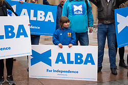 Dundee, Scotland, UK. 27 April 2021. Leader of Alba party Alex Salmond meets local Yes campaigners and supporters in Dundee, a heavily pro independence city today. Iain Masterton/Alamy Live News