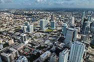 Downtown Miami aerial view showing the Brickell district and Brickell Centre development site.