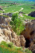 Scenic view of a gorge & plains.  Badlands South Dakota USA
