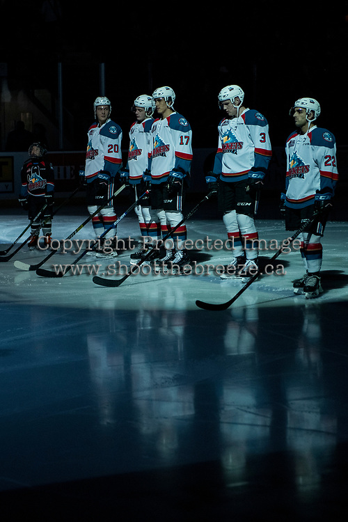 KELOWNA, CANADA - JANUARY 26:  The Pepsi player lines up with the Kelowna Rockets against the Vancouver Giants on January 26, 2019 at Prospera Place in Kelowna, British Columbia, Canada.  (Photo by Marissa Baecker/Shoot the Breeze)