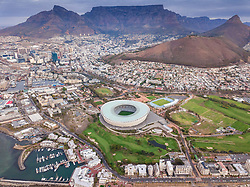 April 19, 2018 - Cape Town, Western Cape, South Africa - Aerial panoramic view of Mouille Point cityscape, Cape Town, South Africa. (Credit Image: © Amazing Aerial via ZUMA Wire)