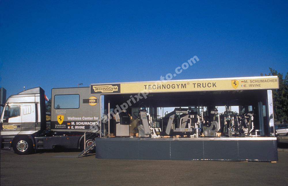 The Technogym fitness truck for Ferrari drivers Michael Schumacher and Eddie irvine at Monza 1997. Photo: Grand Prix Photo