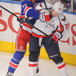April 30, 2012: New York Rangers defenseman Ryan McDonagh (27) checks Washington Capitals left wing Troy Brouwer (20) during first period action in Game 2 of the NHL Eastern Conference Semifinals between the Washington Capitals and New York Rangers at Madison Square Garden in New York, N.Y.