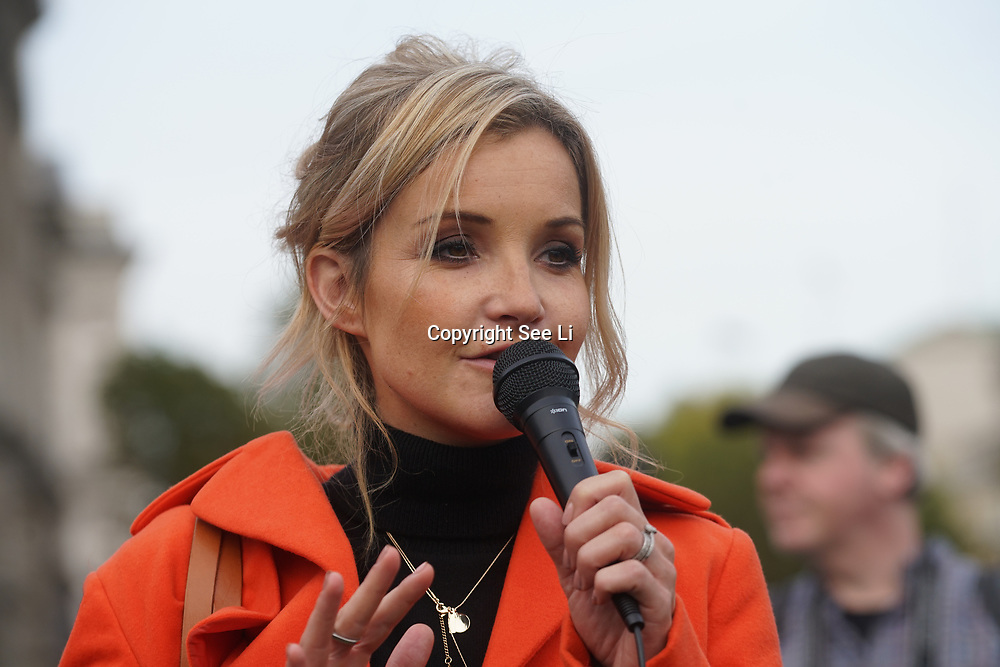 London, UK. 31st October 2017.  Speaker Helen Skelton rally at the Mummies demonstrations across the UK organised by Pregnant Then Screwed on pregnancy and maternity discrimination.