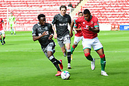Zak Jules of Walsall chases the ball during the EFL Cup match between Walsall and Sheffield Wednesday at the Banks's Stadium, Walsall, England on 5 September 2020.