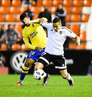 Valencia CF's  Rodrigo and UD Las Palmas'  Culio during spanish King's Cup match. January 21, 2016. (ALTERPHOTOS/Javier Comos)