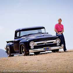 Arlen Ness with his chopped, channelled and sectioned 1956 Ford pick-up, Brentwood, CA. Photograph ©Michael Lichter 1987