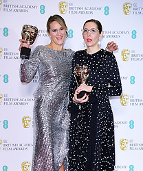 Fiona Crombie and Alice Felton with their Best Production Design Bafta for The Favourite in the press room at the 72nd British Academy Film Awards held at the Royal Albert Hall, Kensington Gore, Kensington, London.