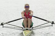 Nottingham, ENGLAND.  <br />  <br />   <br /> Commonwealth Regatta - Nottingham<br /> 20020818<br /> Women's Lightweight single scull<br /> Wales Kirsten MCCLELLAND-BROOKS  . moving off then start.