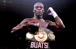 Joshua Buatsi celebrates winning the WBA International Light-Heavyweight title fight at Madison Square Garden, New York.