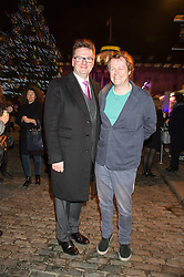Left to right, EWAN VENTERS and TOM PARKER-BOWLES at the launch of Skate at Somerset House in association with Fortnum & Mason held at Somerset House, The Strand, London on 17th November 2015.