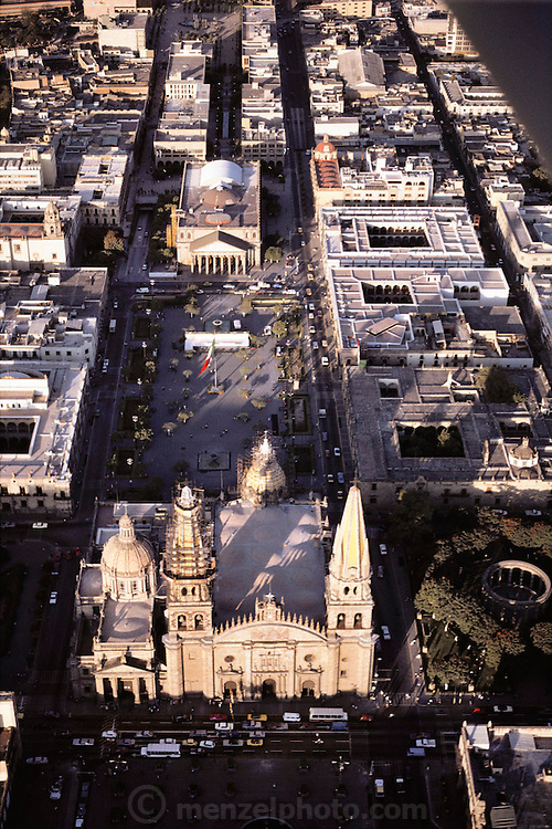 Aerial of the neo-classical Metropolitan Cathedral and Degollado Theater in Guadalajara, Mexico.