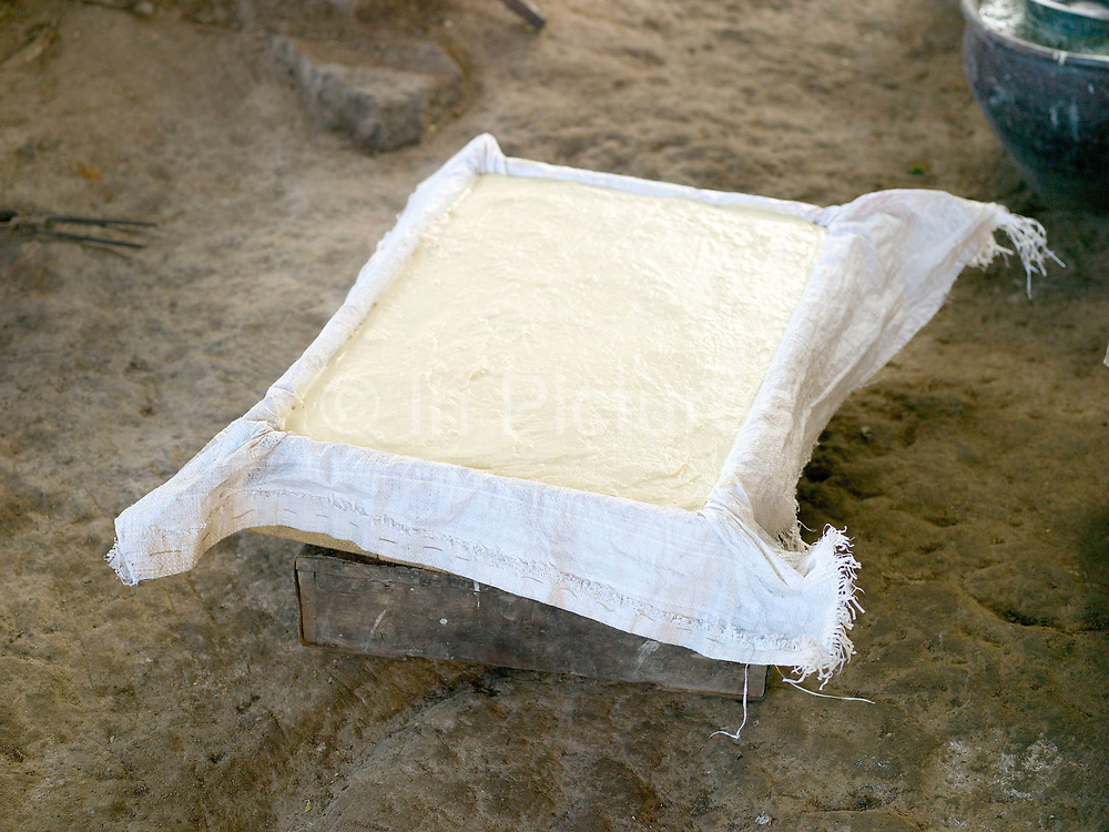 Freshly made tofu, Kaung Daing, Shan State, Myanmar (Burma). Located on the northwestern shore of Inle Lake, the Intha village of Kaung Daing is known for its tofu, prepared using split yellow peas instead of soybeans.
