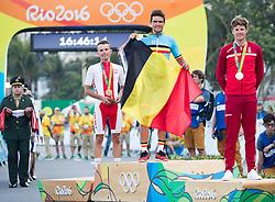 06.08.2016, Copacabana, Rio de Janeiro, BRA, Rio 2016, Olympische Sommerspiele, im Bild v.l. Rafal Majka (POL, Bronzmedaille), Greg van Avermaet (BEL, Goldmedaille), Jakob Fuglsang (DEN, Silbermedaille) // f.l. Bronze Medalist Rafal Majka of Poland Gold Medalist Greg van Avermaet of Belgium Silver Medalist Jakob Fuglsang of Denmark during the Rio 2016 Olympic Summer Games at the Copacabana in Rio de Janeiro, Brazil on 2016/08/06. EXPA Pictures © 2016, PhotoCredit: EXPA/ Johann Groder
