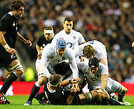 Picture by Andrew Tobin/SLIK images +44 7710 761829. 2nd December 2012. James Haskell and Tom Wood power in during the QBE Internationals match between England and the New Zealand All Blacks at Twickenham Stadium, London, England. England won the game 38-21.